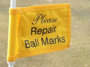 repair ball marks sign 300x224 SportsChump talks golf etiquette, Vol. 1: Playing Through
