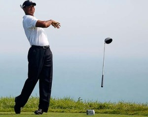 Tiger throws club