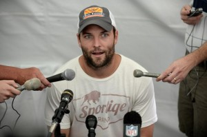 July 24 2013; Englewood, CO, USA; Denver Broncos wide receiver Wes Welker (83) answers questions during a media luncheon press conference held at Denver Broncos headquarters. Mandatory Credit: Ron Chenoy-USA TODAY Sports