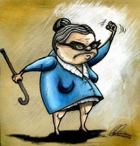 old lady cane drawing