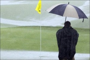 rainy golf course