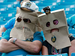 Jaguars fans bags on their heads