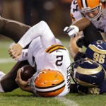 Michael Sam sacks Johnny Manziel!!!  In other less important news, Sam Bradford is out for the season.