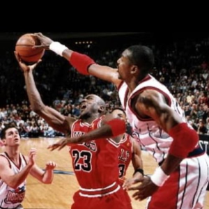 Hakeem blocks Michael