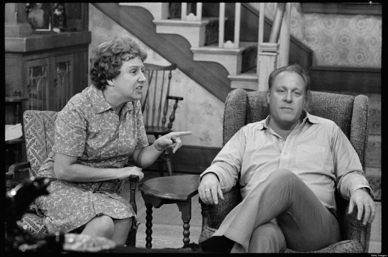 LOS ANGELES - NOVEMBER 6: ALL IN THE FAMILY Carroll O'Connor as Archie Bunker and Jean Stapleton as Edith Bunker. November 6, 1973. (Photo by CBS via Getty Images) *** Local Caption *** Carroll O'Connor;Jean Stapleton