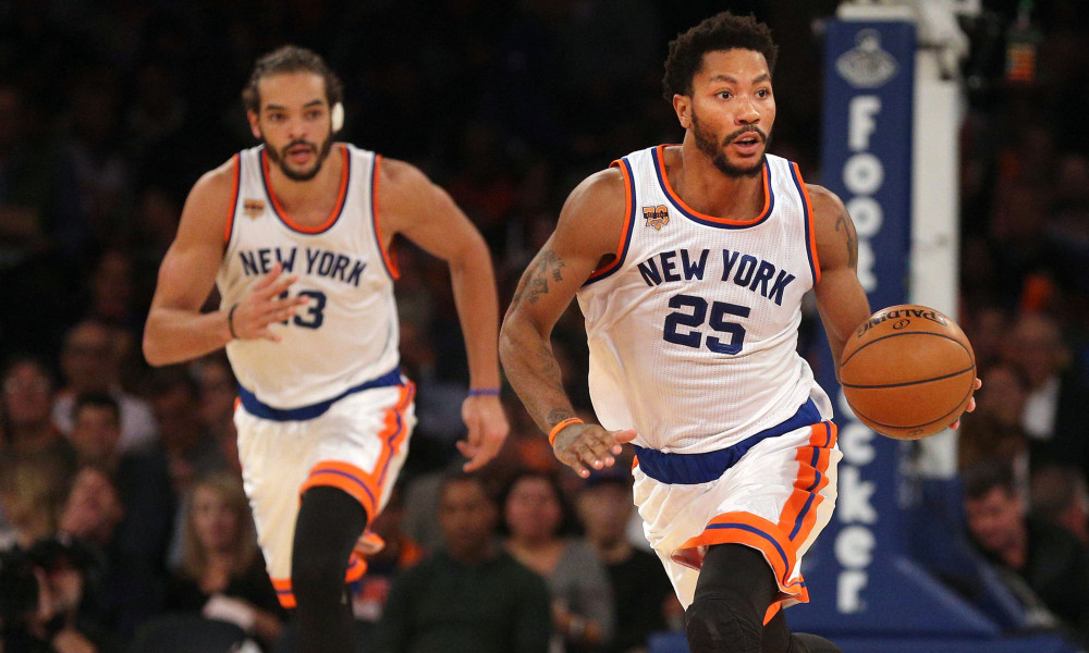 Nov 2, 2016; New York, NY, USA; New York Knicks point guard Derrick Rose (25) controls the ball against the Houston Rockets in front of New York Knicks center Joakim Noah (13) during the third quarter at Madison Square Garden. Mandatory Credit: Brad Penner-USA TODAY Sports ORG XMIT: USATSI-323472 ORIG FILE ID:  20161102_pjc_ae5_133.JPG