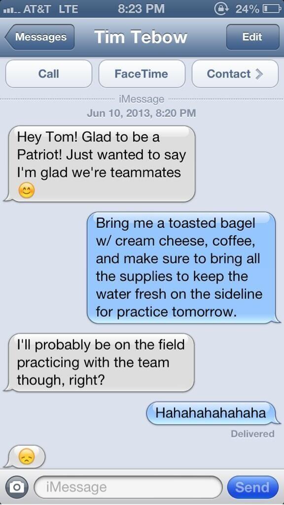 Tebow texts Brady