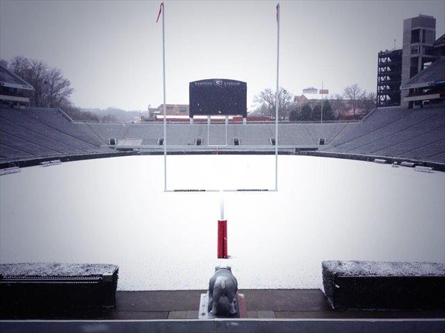 Georgia Sanford Stadium Snow