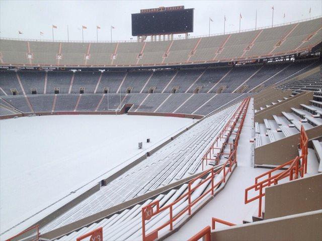 UT Neyland Stadium Snow